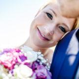 Braut-lächeln-Kamera-Fotos